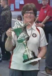 Rose Haynes with the ESMBA A division winners trophy