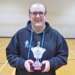 Joseph Newsome with the Alice Hollas Trophy